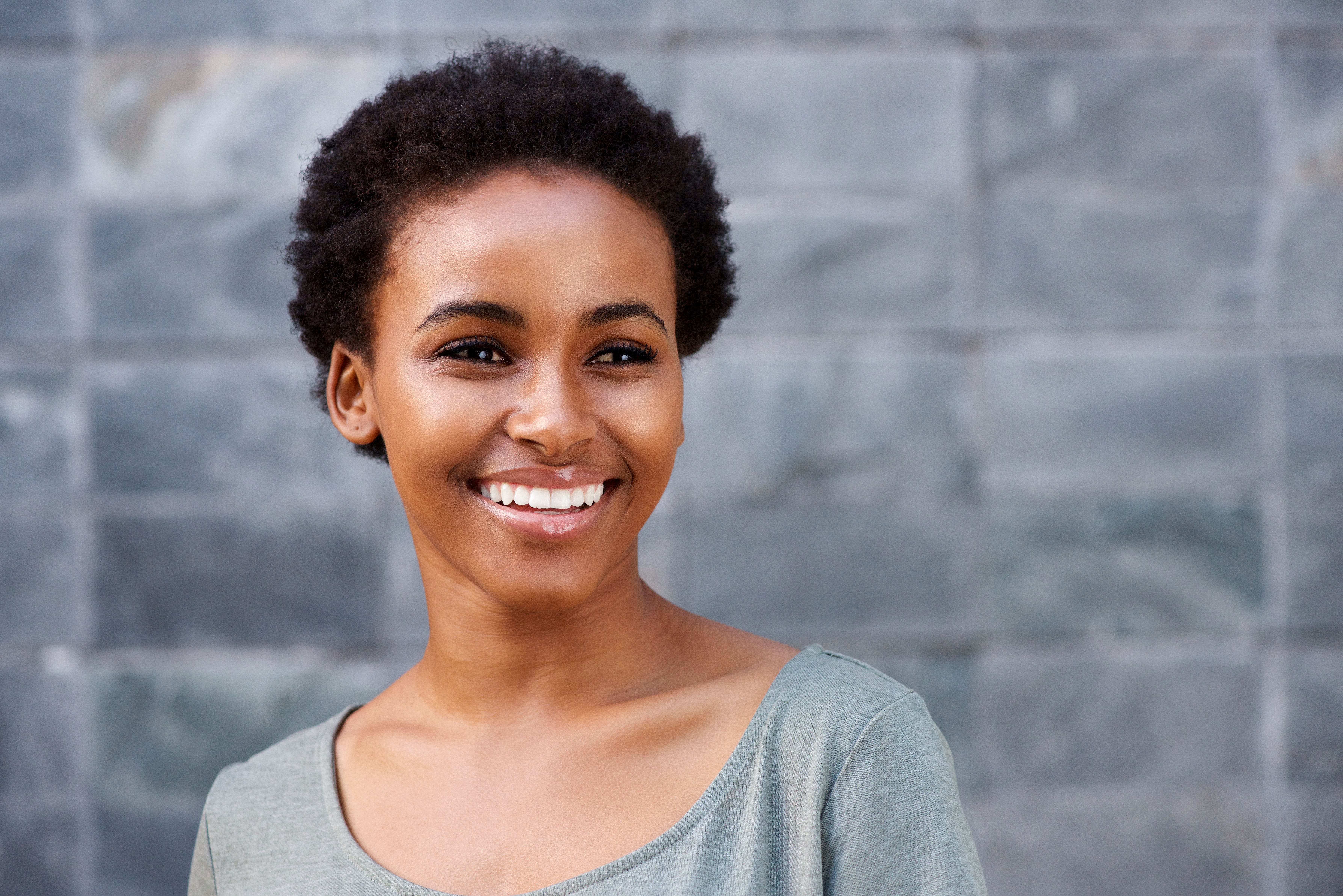 young African American woman with smooth skin